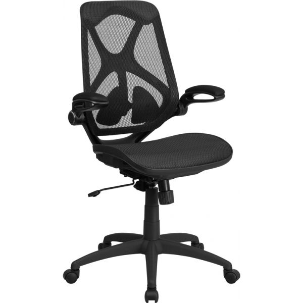 Flash Furniture High Back Mesh Executive Swivel Office Chair with Adjustable Lumbar, 2-Paddle Control and Flip-Up Arms