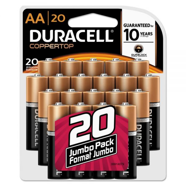 Duracell CopperTop Alkaline Batteries, AA, 20/PK
