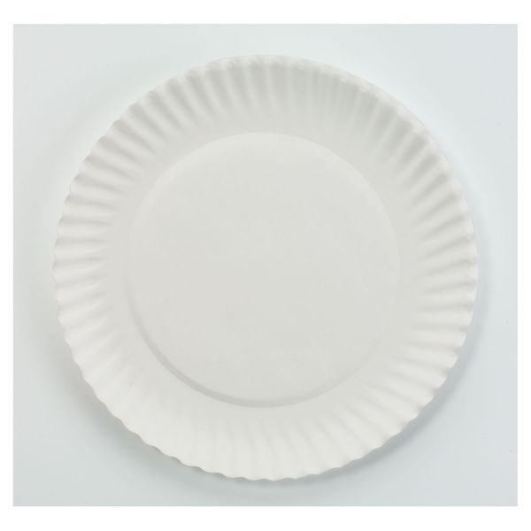 "AJM Packaging Corporation White Paper Plates, 6"" dia, 100/Bag, 10 Bags/Carton"