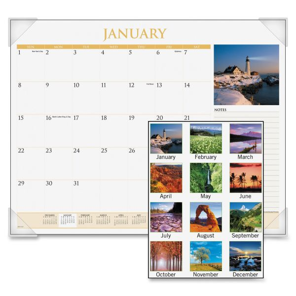 Visual Organizer Scenic Full-Color Photographic Monthly Desk Pad Calendar