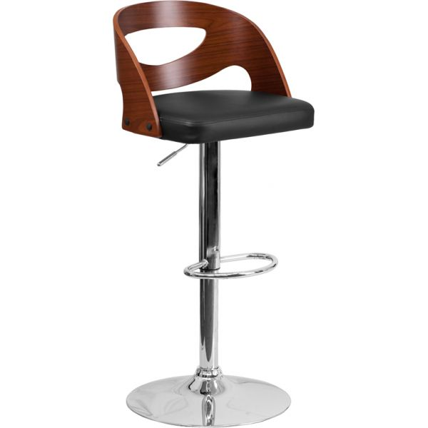 Flash Furniture Walnut Bentwood Adjustable Height Barstool with Black Vinyl Seat and Cutout Back