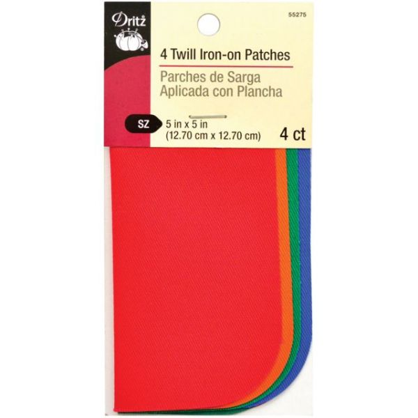 """Iron-On Twill Patches 5""""X5"""" 4/Pkg"""