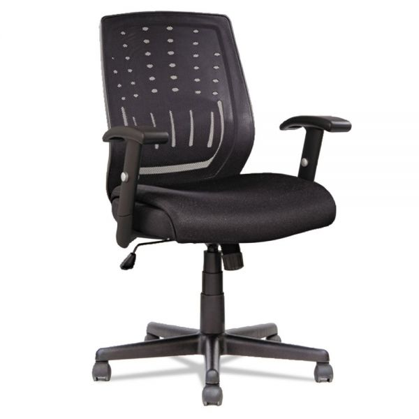 OIF Manager's Synchro-Tilt Mesh Mid-Back Chair , Height Adjustable T-Bar Arms, Black