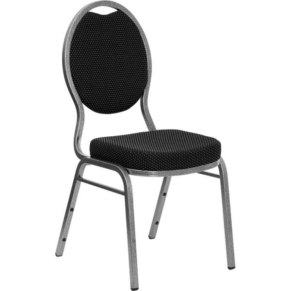Flash Furniture HERCULES Series Teardrop Back Stacking Banquet Chair with Black Patterned Fabric and 2.5'' Thick Seat - Silver Vein Frame