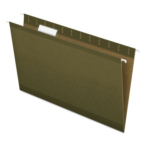 Pendaflex Hanging File Folders, 1/5 Tab, Legal, Standard Green, 25/Box