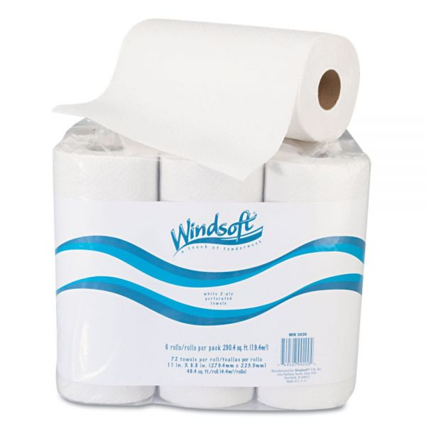 Windsoft Paper Towel Roll, 11 x 8 4/5, 2-Ply, White, 72 Sheets/Roll, 6 Rolls/Pack