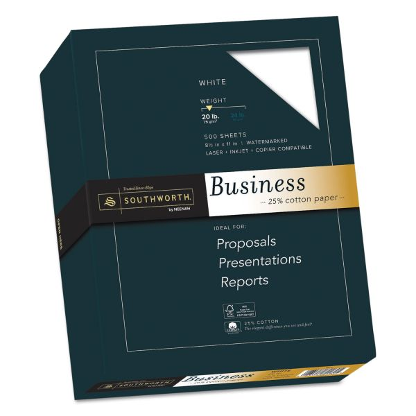 Southworth 25% Cotton Business Paper, 20lb, 95 Bright, 8 1/2 x 11, 500 Sheets