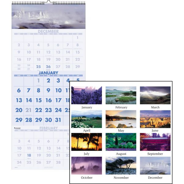 Visual Organizer Scenic 3-Month Wall Calendar