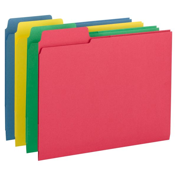 Smead 3-in-1 SuperTab Colored Section File Folders