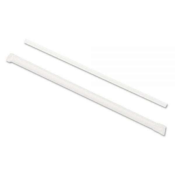 "GEN Wrapped Jumbo Straws, 7 3/4"", Translucent, 24/Carton"