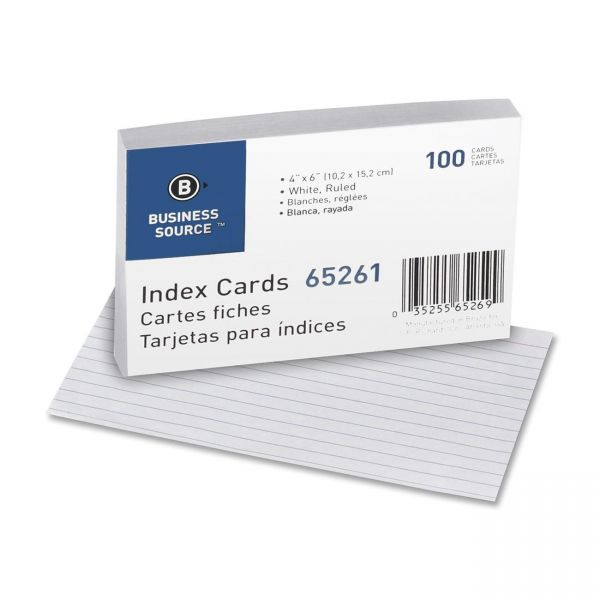 "Business Source 4"" x 6"" Ruled Index Cards"
