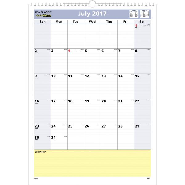 At-A-Glance QuickNotes Acedemic Monthly Wall Calendar