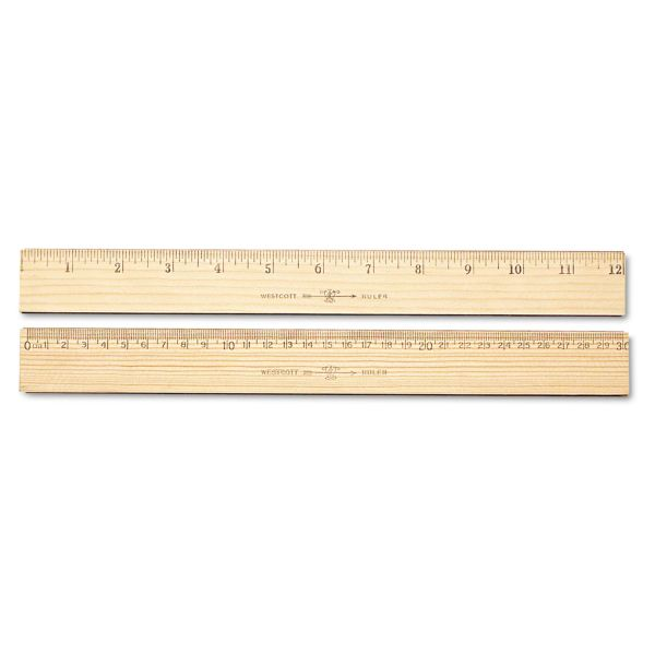 "Westcott Wood Ruler, Metric and 1/16"" Scale with Single Metal Edge, 30 cm"