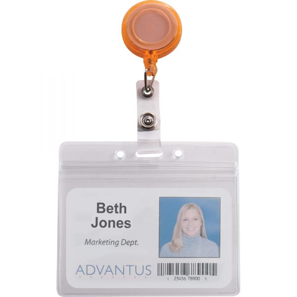 """Advantus Deluxe Retractable ID Card Reel, 30"""" Extension, Assorted Colors, 20/Pack"""