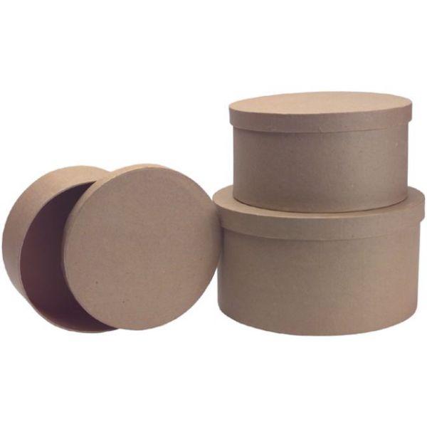 Paper-Mache Round Box Set 3/Pkg