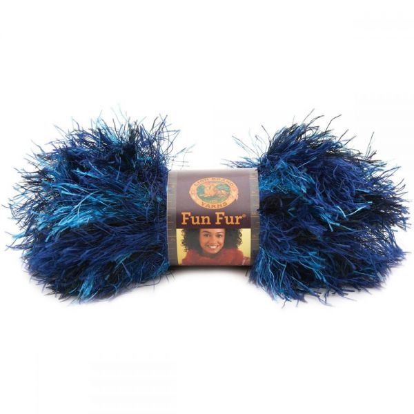 Lion Brand Fun Fur Yarn - Deep Sea-Stripes