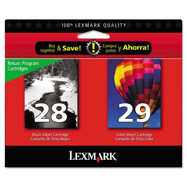 Lexmark #28 Black/#29 Combo Pack Return Program Ink Cartridges (18C1590)