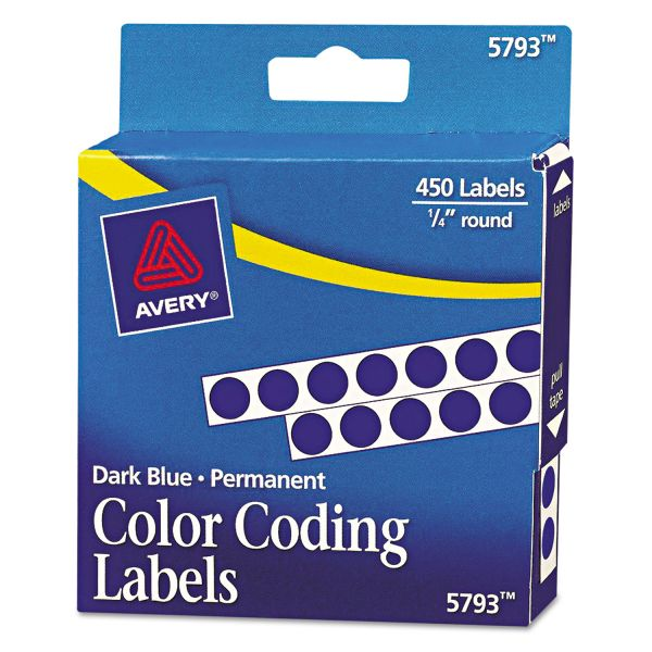 "Avery Permanent Self-Adhesive Round Color-Coding Labels, 1/4"" dia, Dark Blue, 450/Pack"