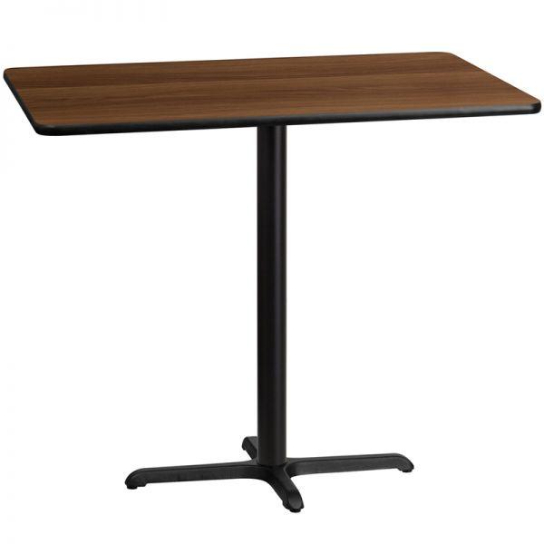 Flash Furniture 30'' x 48'' Rectangular Walnut Laminate Table Top with 22'' x 30'' Bar Height Table Base