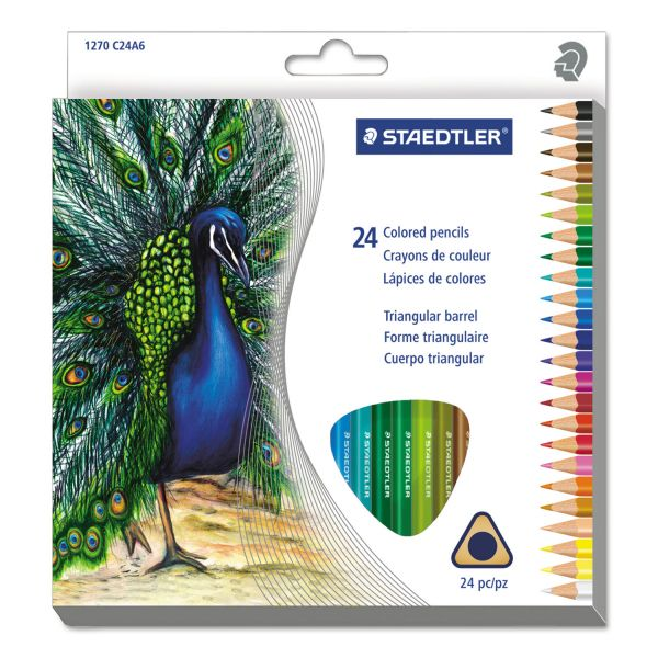 Staedtler Triangular Colored Pencil Set, H/#3, 2.9mm, 24 Assorted Colors