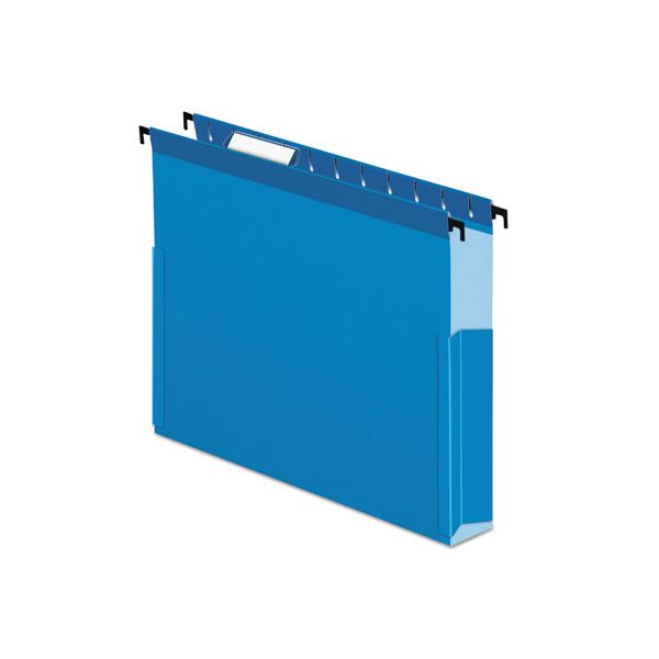 "Pendaflex SureHook Reinforced Hanging Box Files, 2"" Exp with Sides, Letter, Blue, 25/Box"