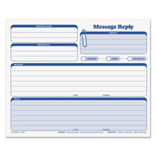 TOPS Rapid Letter Message Memos Form, 8 1/2 x 7, Three-Part Carbonless, 50 Forms