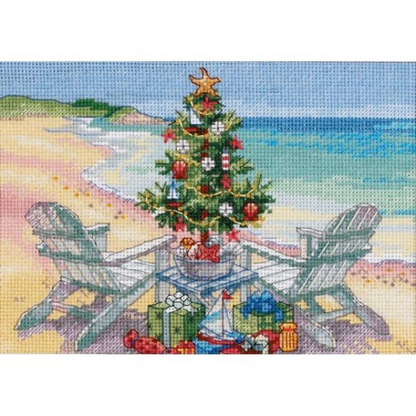 Dimensions Gold Petite Christmas On The Beach Counted Cross Stitch Kit