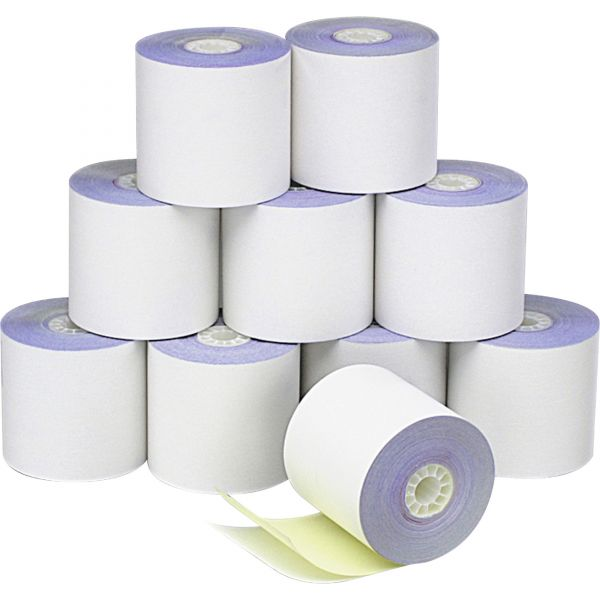 """PM Company Paper Rolls, Credit Verification, 2 1/4"""" x 70 ft, White/Canary, 10/Pack"""