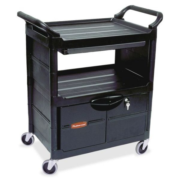 Rubbermaid Utility Cart with Lockable Doors & Sliding Drawer