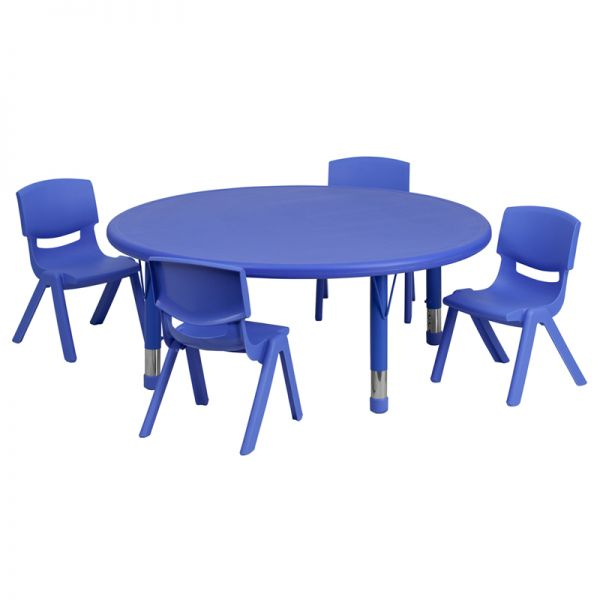 Flash Furniture 45'' Round Adjustable Blue Plastic Activity Table Set with 4 School Stack Chairs