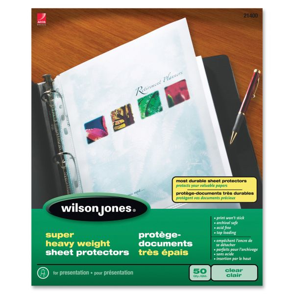 Wilson Jones Top Loading Super Heavy Weight Sheet Protectors