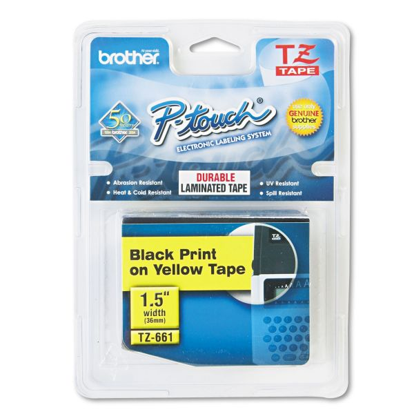 "Brother P-Touch TZe Standard Adhesive Laminated Labeling Tape, 1-1/2""w, Black on Yellow"