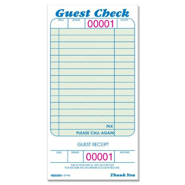 Rediform Green Background 1-Part Guest Checks