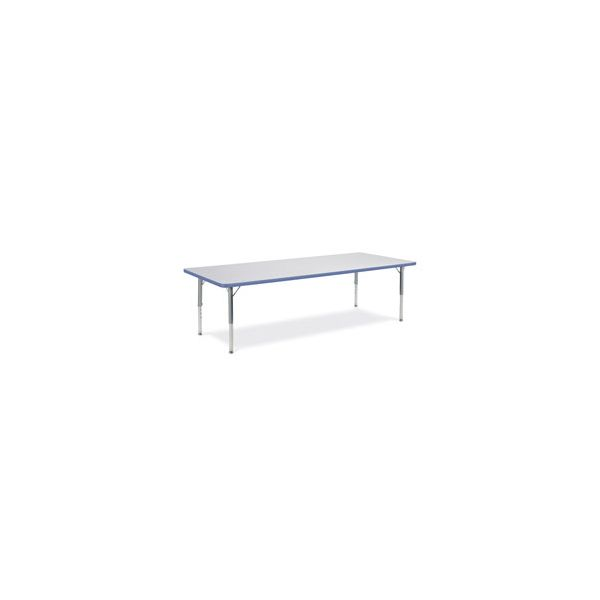 Virco Primary Collection Height Adjustable Rectangular Activity Table with Blueberry Banding