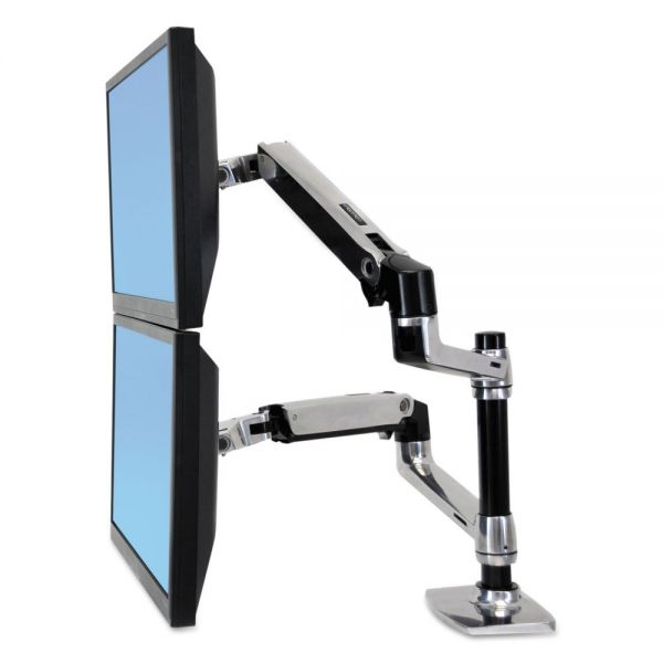 Ergotron LX Dual Stacking Arm, Polished Aluminum/Black