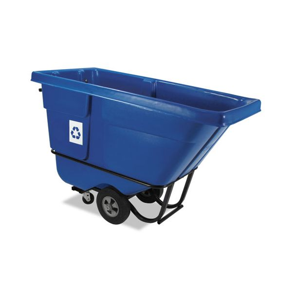 Rubbermaid Commercial Rotomolded Recycling Tilt Truck, Rectangular, Plastic, 850 lb. Cap., Blue