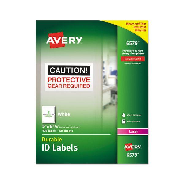 Avery Permanent ID Labels w/TrueBlock Technology, Laser, 5 x 8 1/8, White, 100/Pack