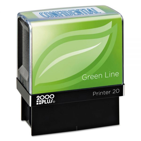 COSCO 2000PLUS Green Line Message Stamp, Confidential, 1 1/2 x 9/16, Blue