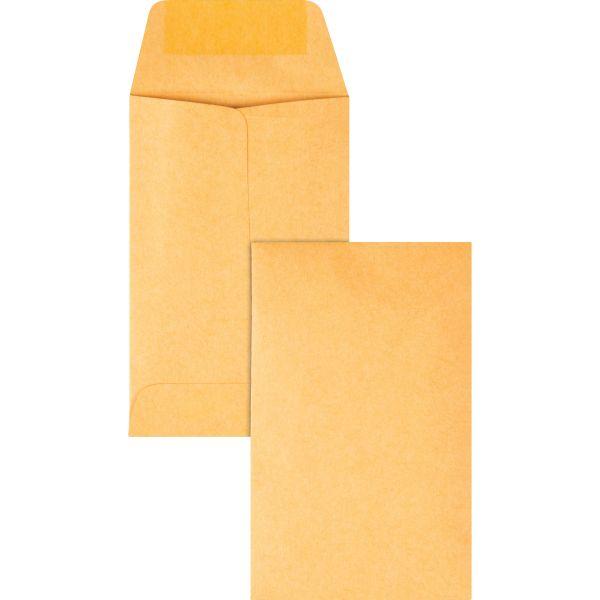Quality Park Kraft Coin & Small Parts Envelope, #1, 2 1/4 x 3 1/2, Brown Kraft, 500/Box