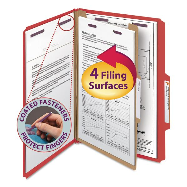Smead Pressboard Classification Folders, Legal, Four-Section, Bright Red, 10/Box