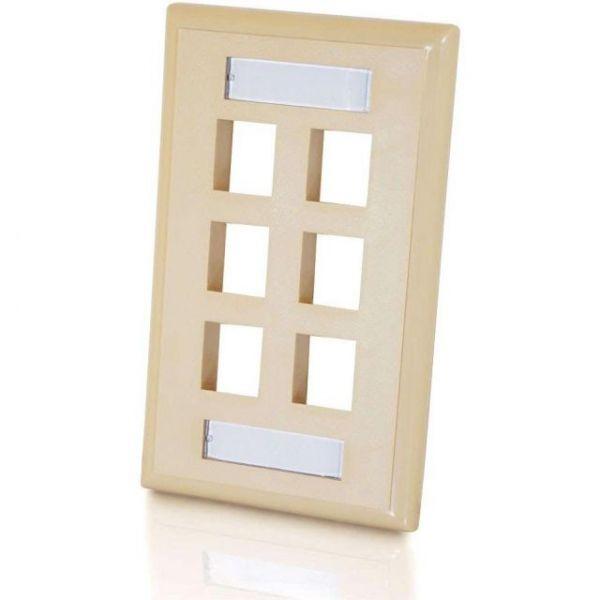 C2G 6-Port Single Gang Multimedia Keystone Wall Plate - Ivory