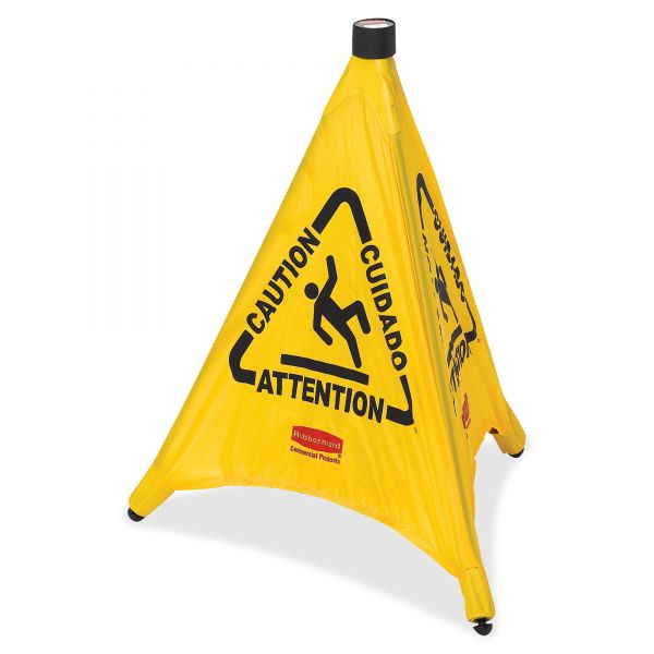 "Rubbermaid ""Caution/Cuidado/Attention"" Three-Sided Safety Cone"