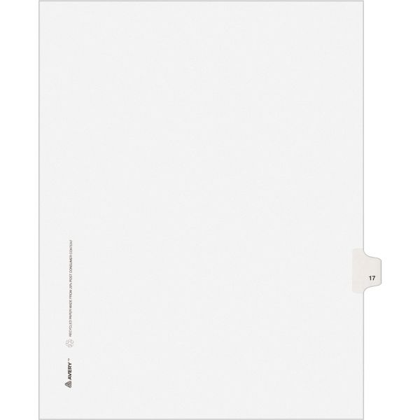 Avery-Style Legal Exhibit Side Tab Divider, Title: 17, Letter, White, 25/Pack