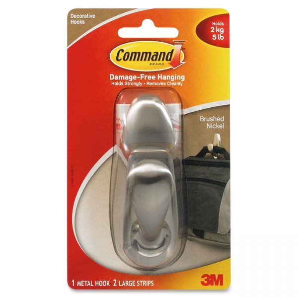 Command Decorative Metal Hooks, Large, Brushed Nickel, 5lb Capacity, 1 Pack