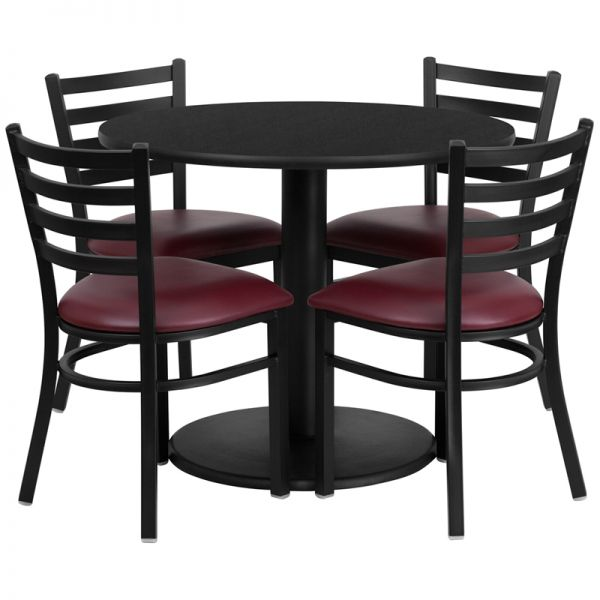 Flash Furniture 36'' Round Black Laminate Table Set with 4 Ladder Back Metal Chairs - Burgundy Vinyl Seat