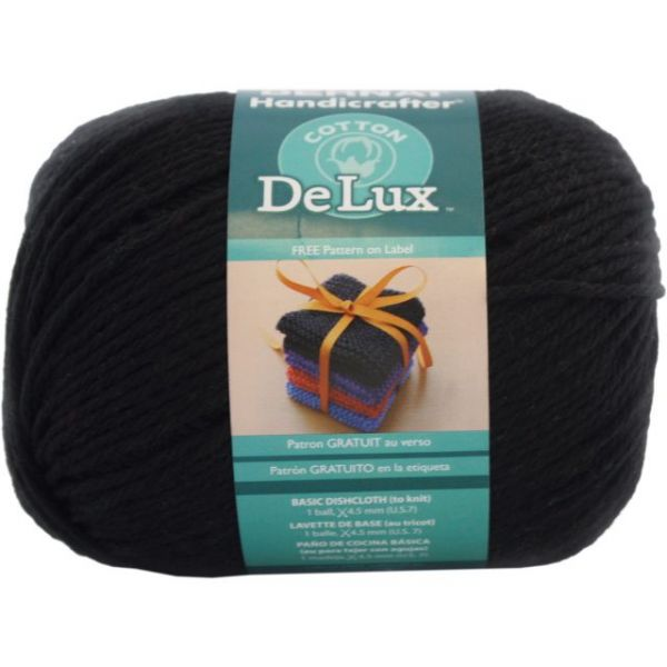 Bernat Handicrafter DeLux Cotton Yarn - Black