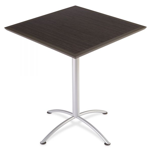 Iceberg iLand Table, Dura Edge, Square Bistro Style, 36w x 36d x 42h, Gray Walnut/Silver