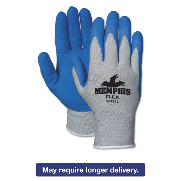 Memphis Memphis Flex Seamless Nylon Knit Gloves, Small, Blue/Gray, Dozen