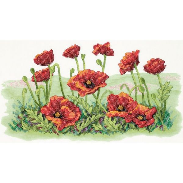 Dimensions Field Of Poppies Stamped Cross Stitch Kit