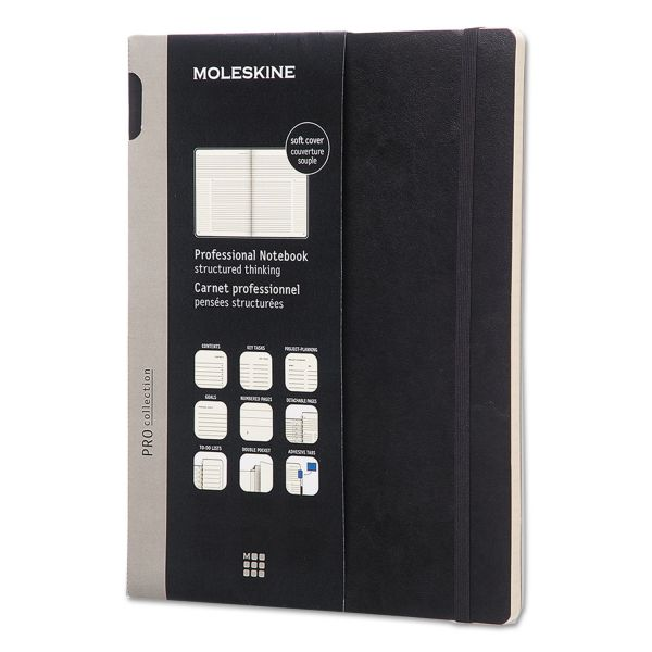 Moleskine Professional Notebook, Ruled, 9 3/4 x 7 1/2, Black Cover, 192 Sheets